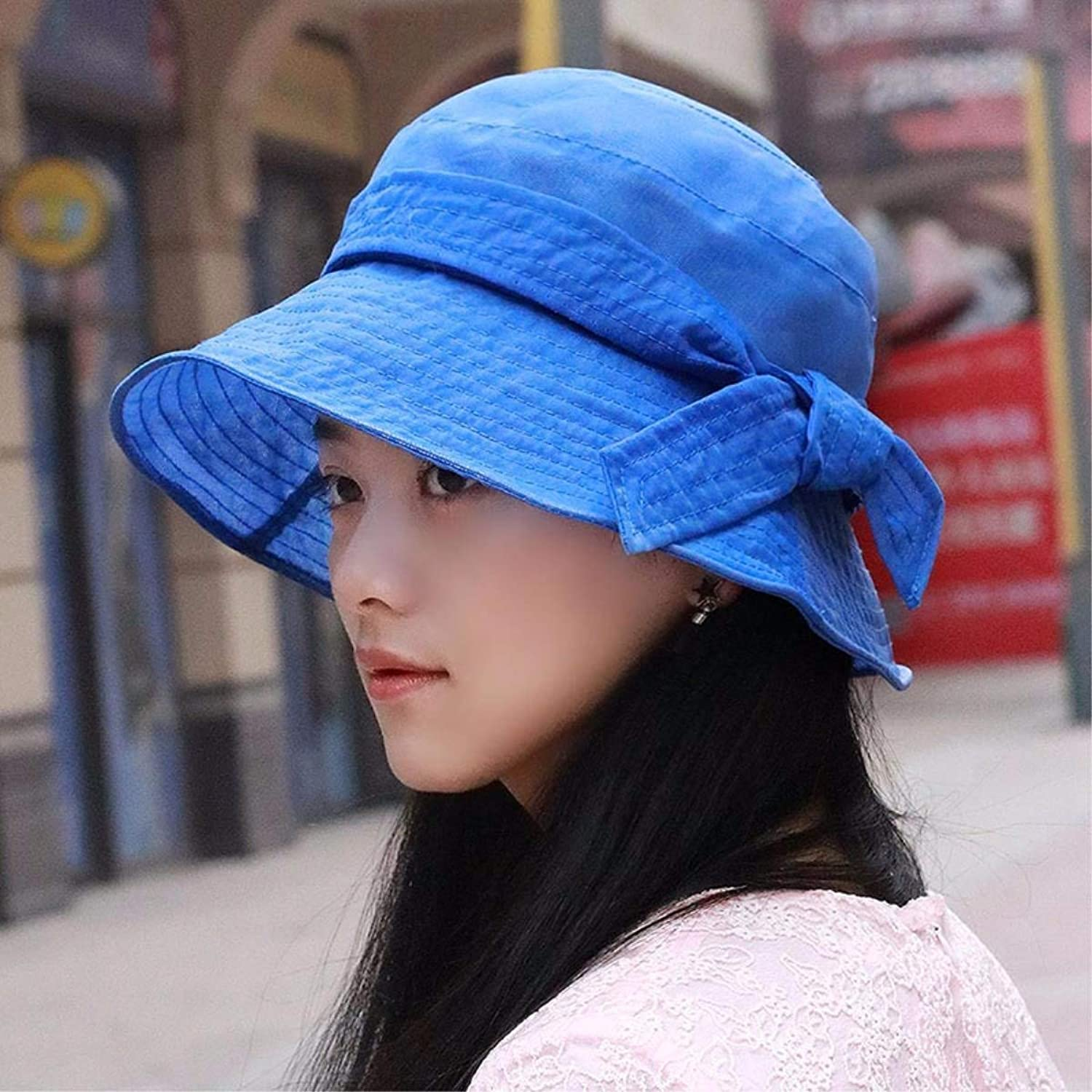 Beach Hat Autumn Thin, Breathable Snow Woven Hats Sun Hats Sun hat Beach hat with a Cool Cap Mother Cap New Summer Sun Hat (color   The blueee)