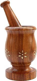 ITOS365 Handmade Wooden Mortar Pestle Set Home Décor Kitchen Utensil