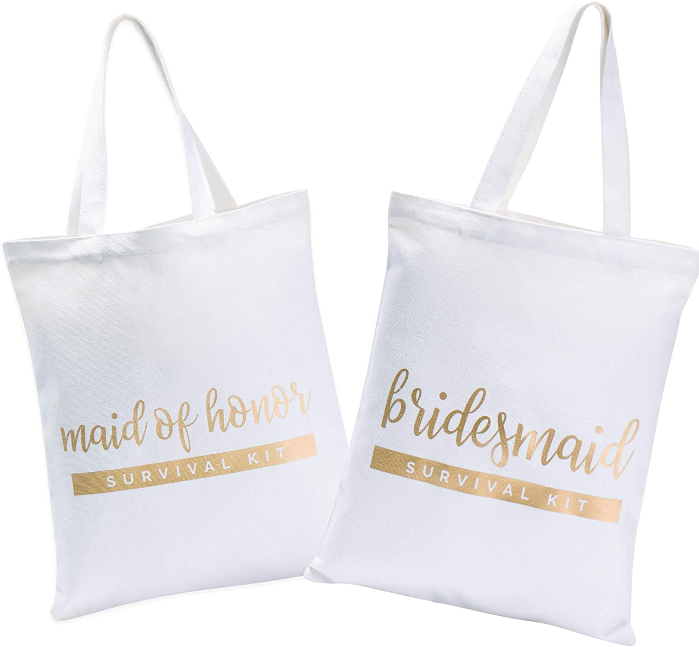 Bridesmaid Bags | Bridesmaid Tote bags | Maid of Honor Tote Bag | Bride Canvas Bag (6 pack)