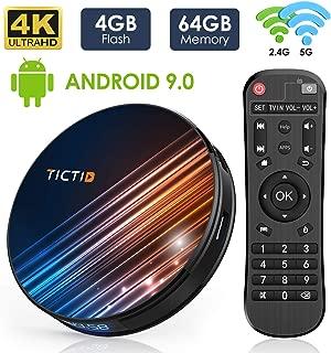 Android 9.0 TV Box 4GB RAM 64GB ROM, TICTID R8 Pro Android TV Box RK3318 Quad-Core 64bit with Dual-WiFi 5G/2.4G, BT 4.0, 4K2K UHD H.265, USB 3.0 Smart TV Box