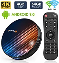 Android 9.0 TV Box 4GB RAM 64GB ROM, TICTID R8 Pro Android TV Box RK3318 Quad-Core 64bit with Dual-WiFi 5G/2.4G, BT 4.0, 4K2K UHD H.265, USB 3.0 Smart TV Box