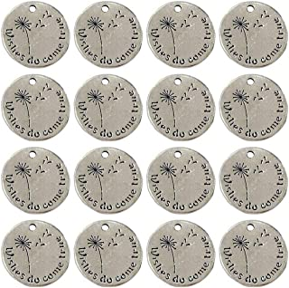 Yansanido Pack of 10 Alloy Silver ''Wishes do Come True'' Round 0.78'' (20mm) with Dandelion DIY Antique Message Charms Pendant for Making Bracelet and Necklace (Wishes do Come True)