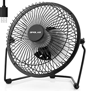 OPOLAR 6 Inch USB Desk Fan with 2 Setting, Metal Design, Quiet Operation, 360 Rotation, Portable Mini Table Fan, Perfect Personal Cooling Fan for Home Office Desktop