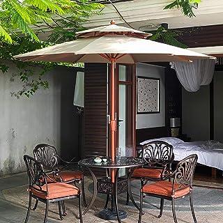 Sombrillas Parasol Jardin Playa Al Aire Libre 2,7 M / 9 Pies, Jardín de Madera de Grano con Manivela Y 8 Costillas Resistentes (Color : Khaki)