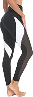 QUEENIEKE Women Yoga Pants Color Blocking Mesh Workout Running Leggings Tights 8030