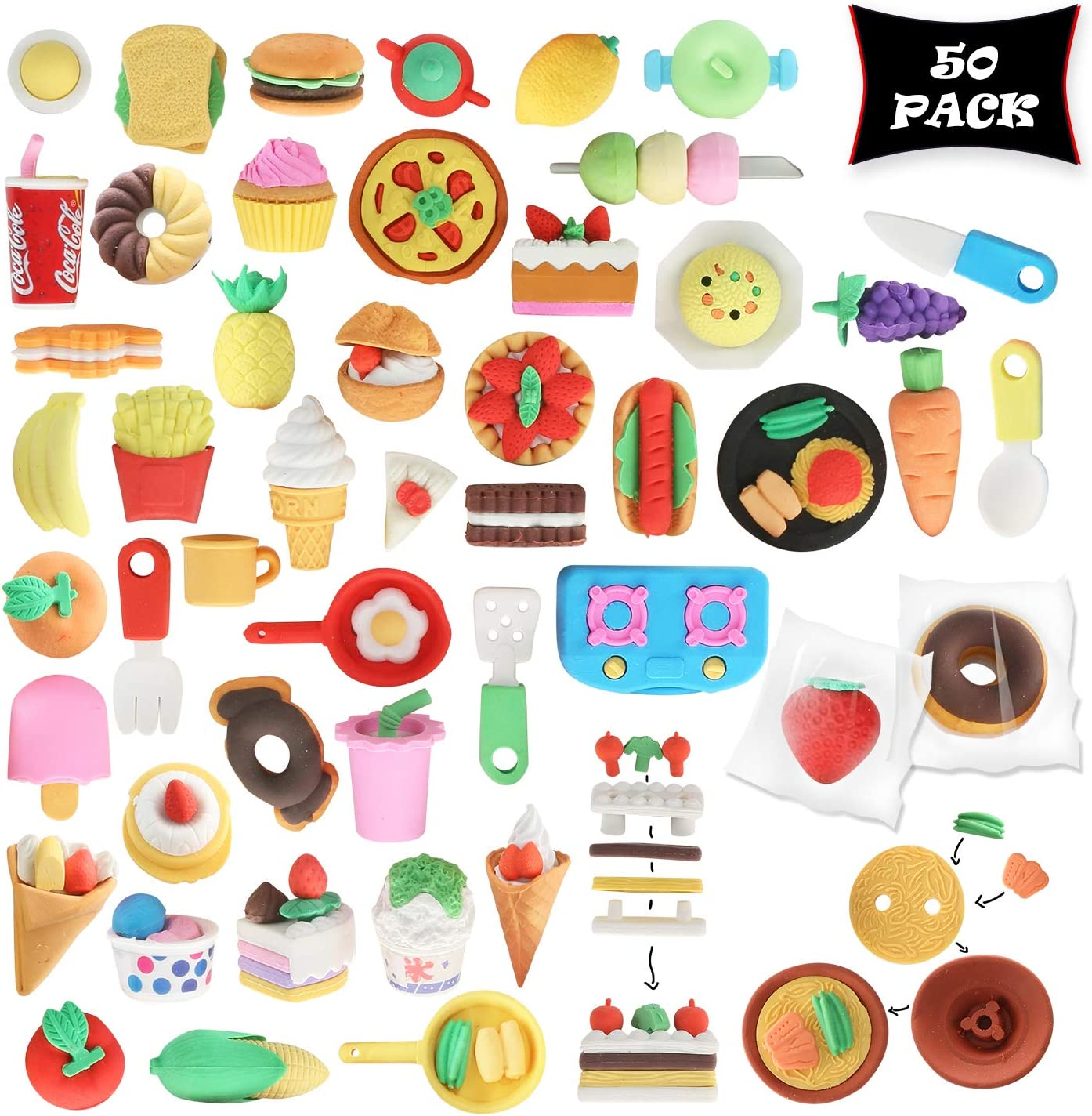 San Jose Mall Smart Novelty Food shipfree Puzzle Erasers for Clas Favors Party Kids and