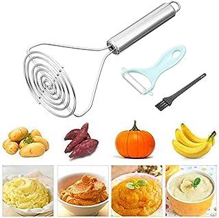 PORTOWN Heavy Duty Potato Masher, Stainless Steel Potato Masher Professional Masher Kitchen Tool Non-slip Handle Potato Ri...