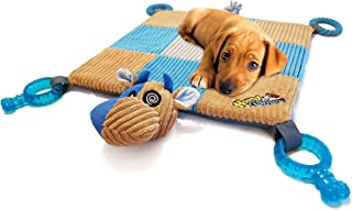 "HOUNDGAMES Puppy Toy Mat with Teething Chew Toys (20"" x 20"") - Ropes, Squeaker Nose, Plush Padded Sleeping Mat – Durable and Machine Washable"