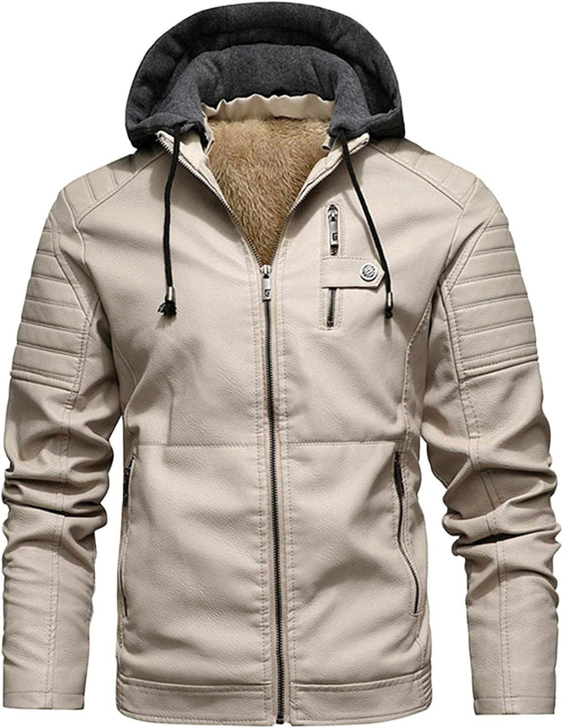 Stoota Men's Stand Collar Warm PU Faux Leather Zip-Up Motorcycle Digging Bag Hooded Jacket Coat Outwear Removable Hood