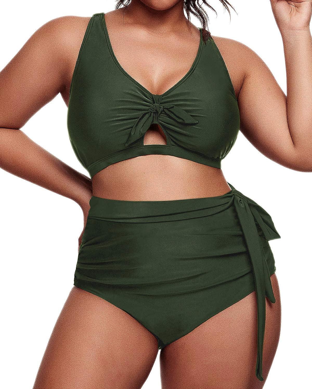 Daci Women Plus Size Bikini High Waisted Ruched Swimsuit Tie Knot Bathing Suit