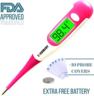 Best Digital Medical Thermometer Baby Kids and Adult, Accurate and Fast Readings in 10 Seconds - Oral and Rectal Thermometer for Children Babies Adults Pets (termometro) (Pink)