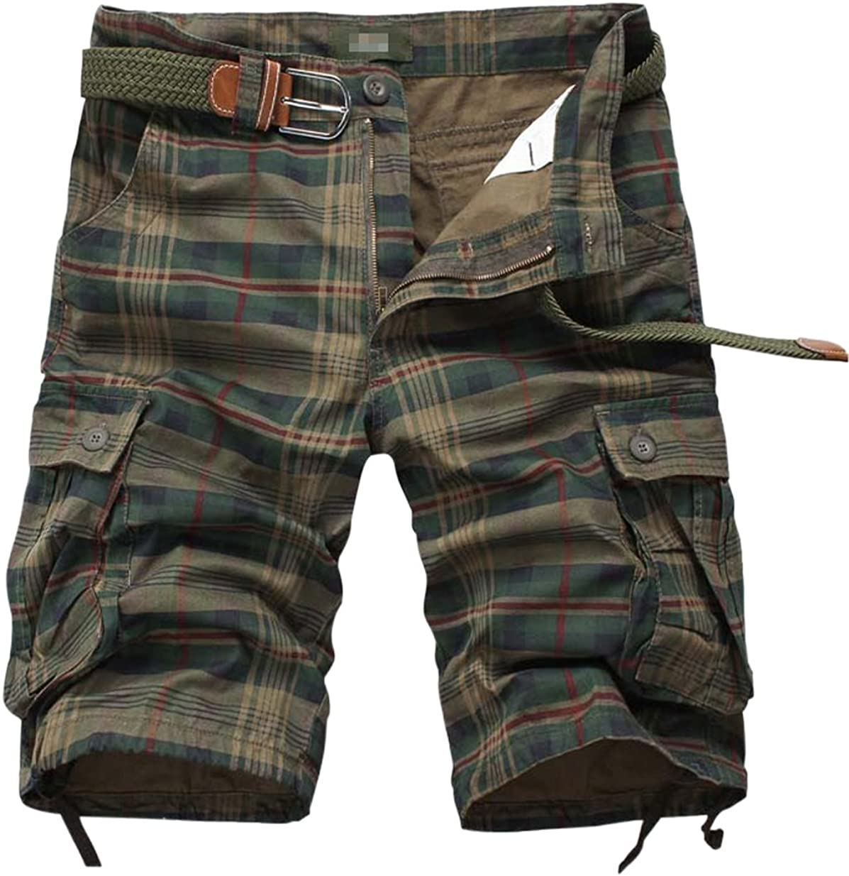 Uaneo Men's Casual Regular Fit Plaid Cotton Cargo Walk Shorts with Multi Pockets (Green, Large)