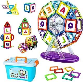 مجموعة KUING الأساسية (112 قطعة) مكعبات بناء مغناطيسية ، بلاط مغناطيسي تعليمي ، لعبة بناء مغناطيسية ، ألعاب مكعبات بناء مع...