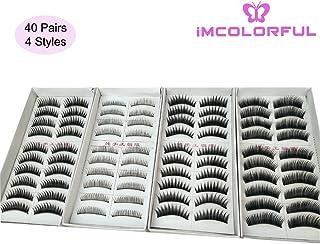 Imcolorful Natural False Lashes Multipack Handmade Fake Eyelashes set for Makeup Cosmetic (40 Pairs, 4 Styles)