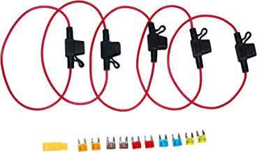 Car in line Fuse Holder 16AWG Cable with Built in Mini Spade Fuse, 5pcs of in line Fuse Holder+10pcs of Mini Spade fuses Selling Pack (5A,7.5A,10A,15A,20A Spare fuses2pcs Each)