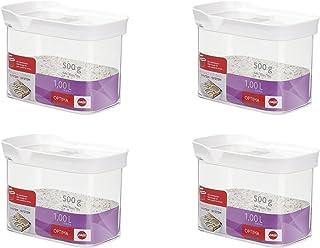 Emsa 514550 Optima Trockenvorrats-Schüttdose mit Schiebedeckel, 1 Liter, klar/weiß (4 Stück)