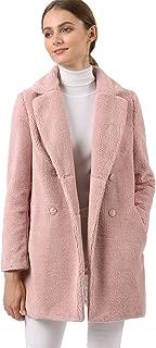 Allegra K Women's Faux Fur Coat Double Breasted Notched Lapel Long Jacket