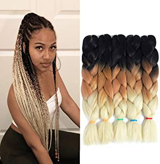 3 Tone Ombre Kanekalon Jumbo Braiding Hair 24 Inch 5Pcs/Lot Synthetic African Brown and Blonde Colorful Pre Stretched Braiding Hair for Twist Crochet Braids (Black-Brown-Beige)
