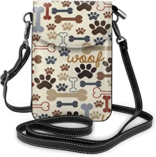 Women Small Crossbody Shoulder BagAt Dog PawLeather Cellphone Purse Wallet