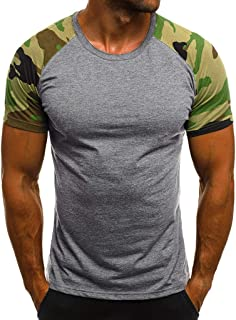 OrchidAmor Men's Camouflage Crew Neck T-Shirt Summer Heavy Cotton Value Weight Muscle Slim