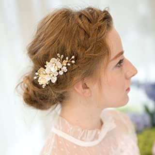 AW BRIDAL Freshwater Pearl Wedding Hair Clip Pin Bridal Hair Combs Crystal Hair Barrettes Gold Wedding Headpieces Hair Accessories for Women
