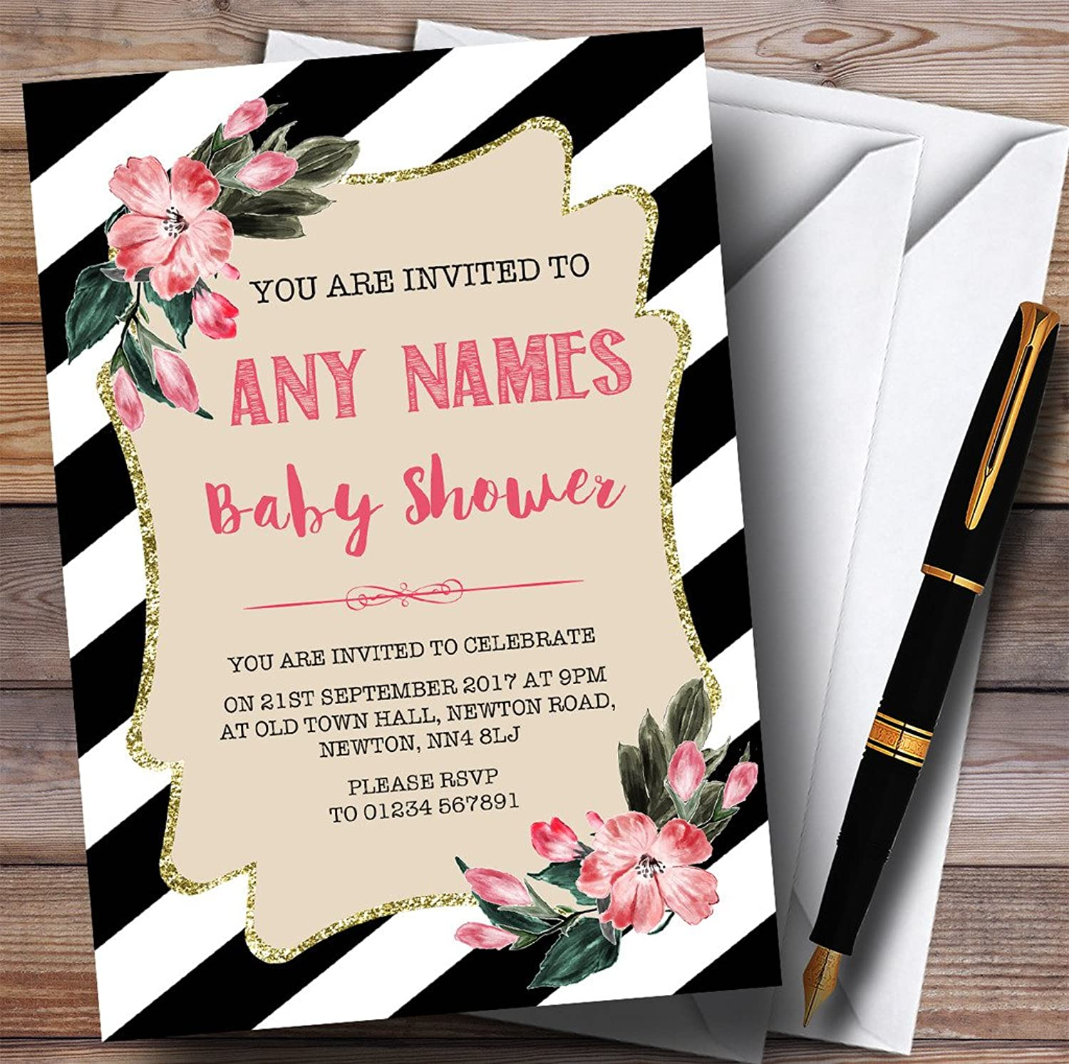 Black & White Floral Any Age Girls Invitations Baby Shower Invitations