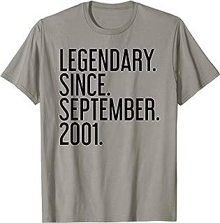 LEGENDARY. SINCE. SEPTEMBER. 2001. 18 Year Old 18th Birthday