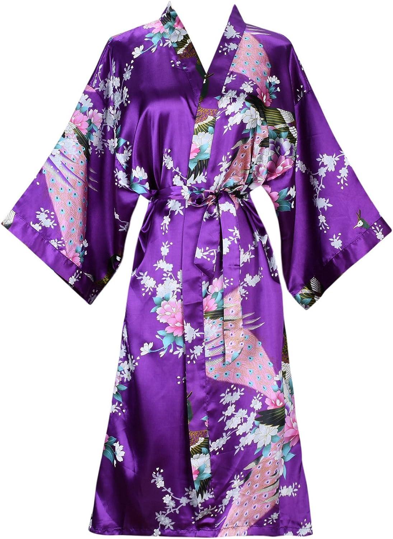 Ellenwell Women's Kimono Robe, Peacock & Blossoms Design, Long