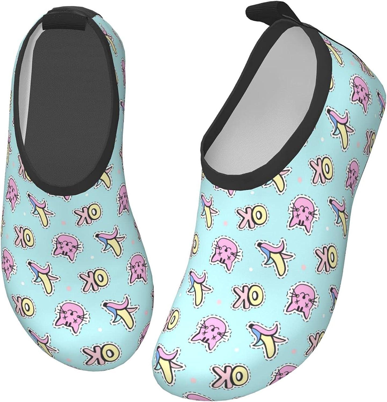 Ok Cartoon Cat Banana Cute Children's Water Shoes Feel Barefoot for Swimming Beach Boating Surfing Yoga