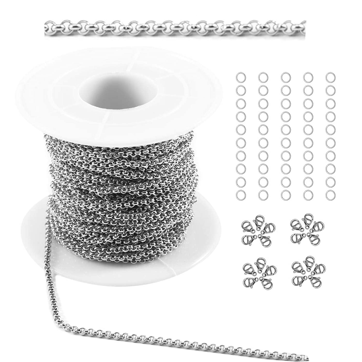 Tiparts 33Ft Rolo Chains Cable Chains Necklace Bulk Jewelry Chains for Jewelry Making (Silver, Chain Width 2.0mm+20pcs Clasps+50 Rings)