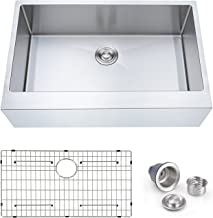 """SINOGY 33""""x21"""" Inch Single Bowl Farmhouse Apron Front Sink 16 Gauge Stainless Steel Kitchen Sink With Sink Strainer and Bottom Grid"""