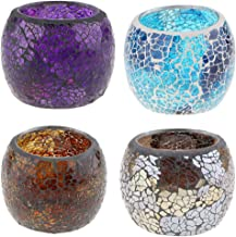 Blesiya 2Pcs 4Pcs Mosaic Glass Votive Candleholder Tea Light Bowl Candelabra Candlestick Mood Lights Holders Accessories -...