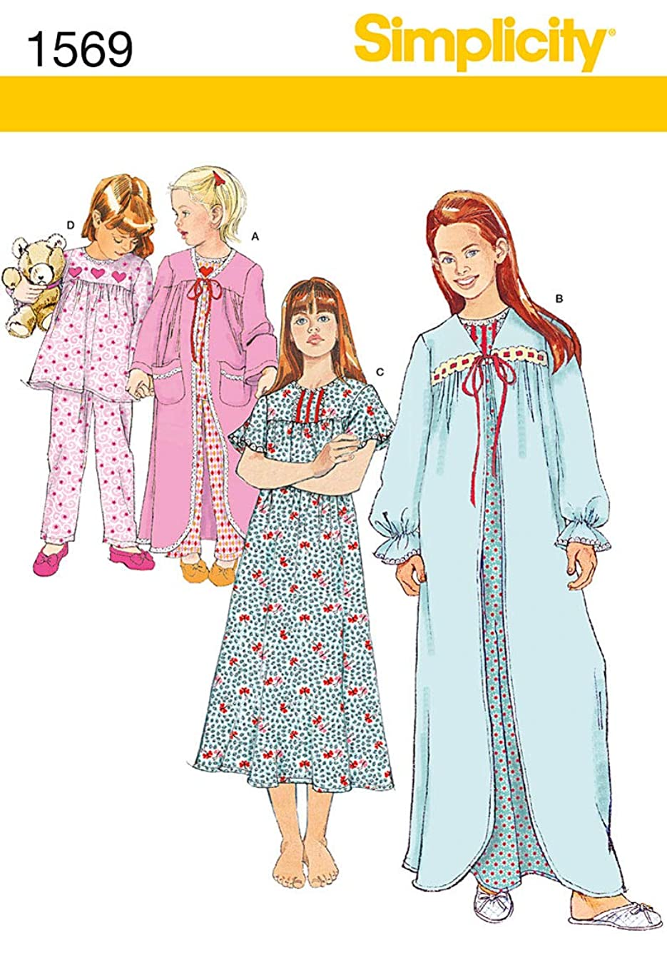 Simplicity Creative Patterns 1569 Child's and Girl's Sleepwear, HH (3-4-5-6)