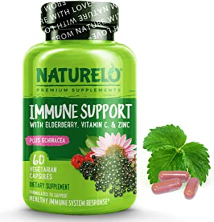 NATURELO Immune Support – Organic Vitamin C, Elderberry, Zinc, Plus Echinacea – Natural Immunity Boost w/ A...