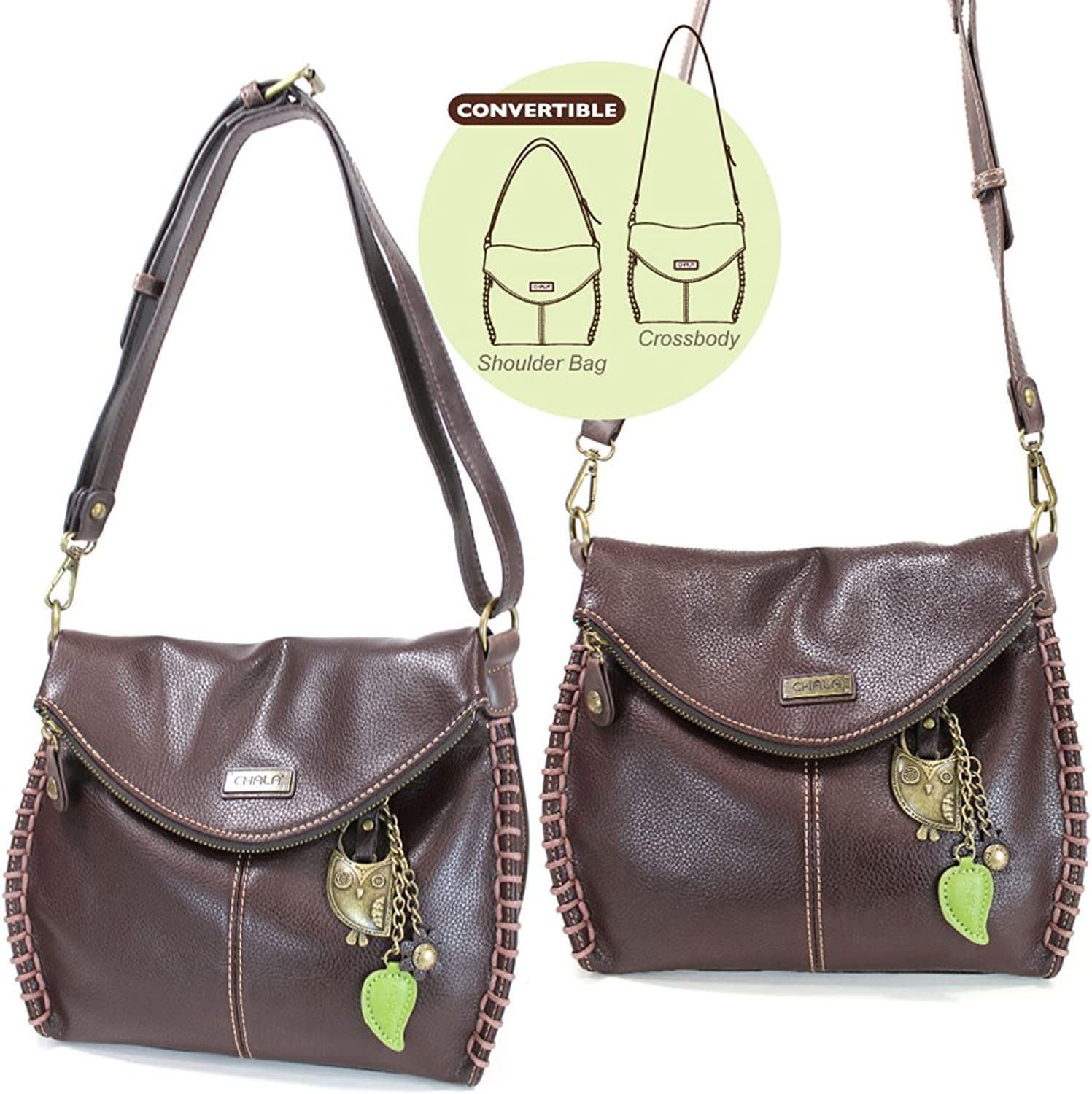 Chala Charming Crossbody Bag with Owl  Dark Brown