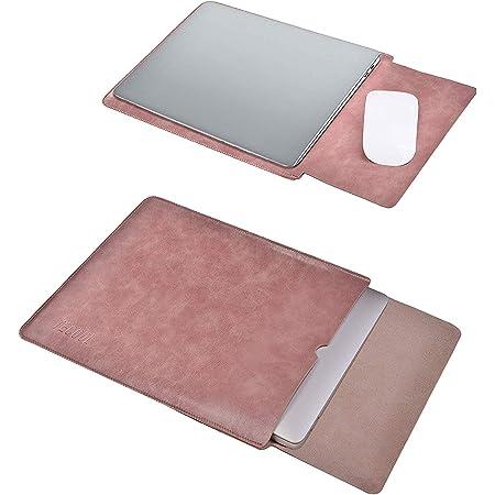 TECOOL Laptop Hülle 13,3 Zoll Tasche, Wasserdicht Leder Schutzhülle Case für 2012-2021 MacBook Air/Pro 13, MacBook Air/Pro 13 M1 2020,Surface Laptop 4-1,LincPlus,Huawei Matebook 13 HP etc-Alte Rose