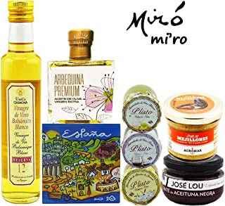 GIFT BASKET-IMPORTED FROM SPAIN-GOURMET FOOD-7 PREMIUM ARTISAN PRODUCTS - XTRA VIRGIN OLIVE OIL- BLACK OLIVE Pâté – 3 HOMEMADE JAMS-MUSSEL Pâté - WHITE BALSAMIC VINEGAR-SURPRISE GIFT. CHEF OLE MIRO