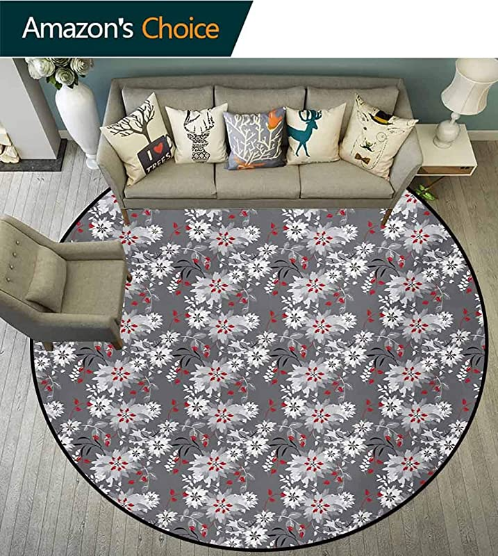 RUGSMAT Floral Area Silky Smooth Rugs Spring Season Illustration With Greyscale Backdrop Nature Composition Home Decor Area Rug Diameter 24 Inch Pale Grey Vermilion Grey