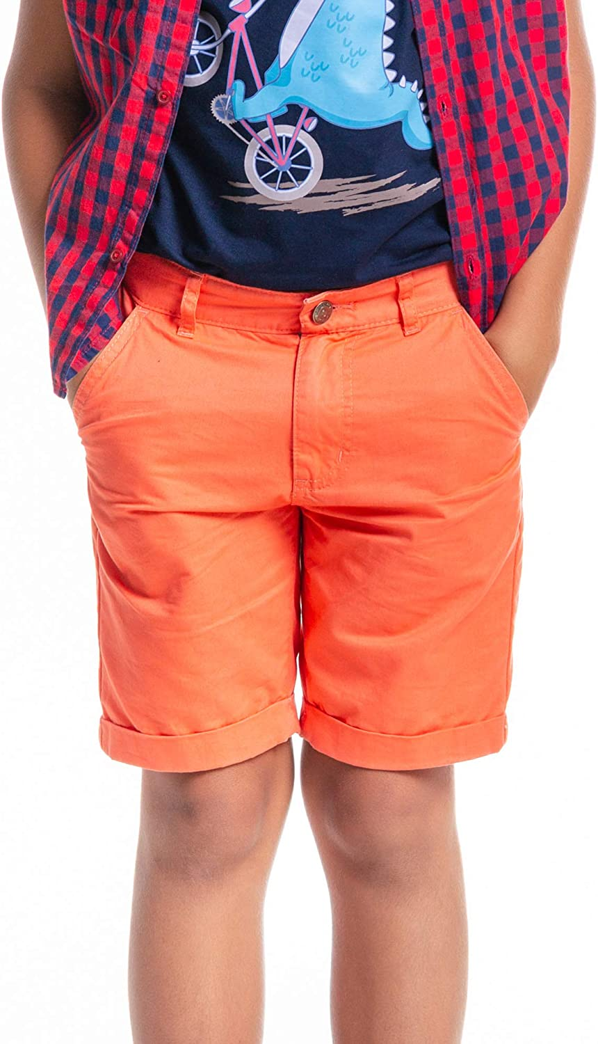 M.D.K Boys Solid Color Casual Spring Summer Roll Up Bermuda Shorts