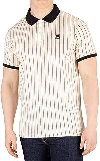 Mens Vintage White or Cream Tapioca BB1 Stripe Tennis Polo Shirt