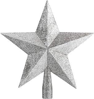 زينة حفلة الكريسماس مع نجمة توبر لامعة لشجرة الكريسماس لتزيين شجرة الكريسماس استخدام ديكور المنزل على قمة الشجرة