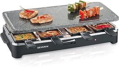 8 Mini-Sartenes Incl Cortador de Masa para Pizza y 8 Esp/átulas de Madera SEVERIN Pizza-Raclette Grill con Plancha Reversible RG 2687 1.150 W aprox.