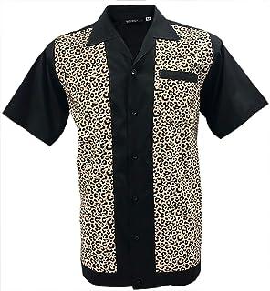 Rockabilly Fashions Camisa informal para hombre de los años 50 años 60, retro, vintage, estampado de leopardo