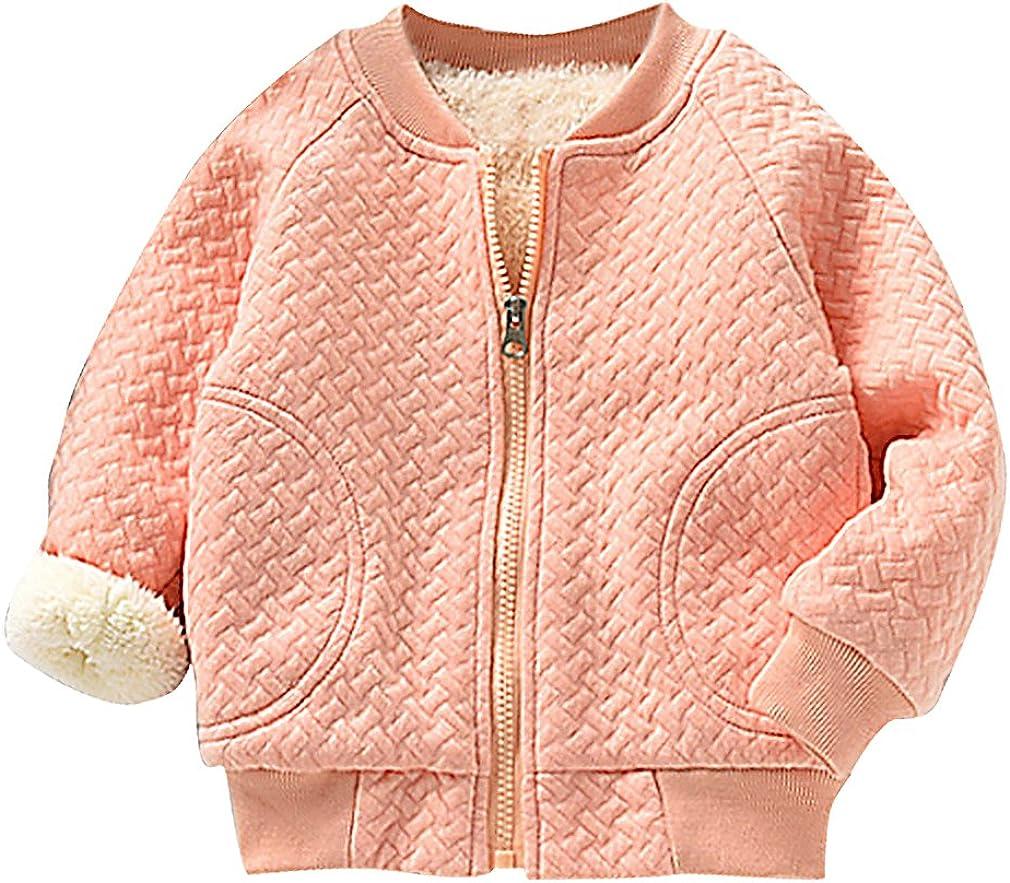BPrincess Kids Basket Weave Pattern Zip Up Fleece Lined Cotton Bomber Jacket