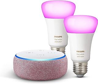 Echo Dot (3ª generazione) - Tessuto malva + Lampadine intelligenti a LED Philips Hue White & Color Ambiance, confezione da...