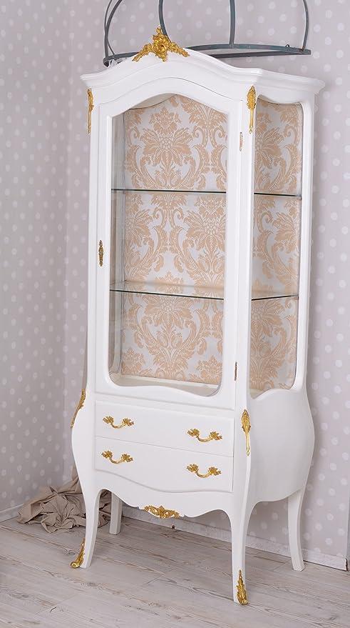 vitrine barock schrank schubladen vitrinenschrank weiss antik