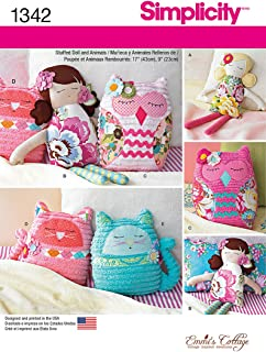 SIMPLICITY 1342 STUFFED DOLL, CAT, OWL PILLOW ~ SEWING PATTERN