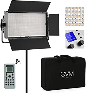 GVM Professional LED Video Light 110W Bi-Color 3200K-5600K Dimmable 1920 LED Panel Light for Photography Studio YouTube Video, CRI97+ TLCI97+ Remote Control, Barn-Door,Carry Bag