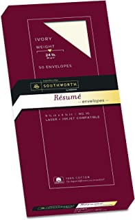 Southworth Exceptional Resume Envelopes, 100% Cotton, Size 10, Ivory, 50 Count (R14I-10L)