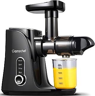Juicemaskiner, AMZCHEF Långsam Masticating Juicer Extractor, Kallpresspress med två hastighetslägen, LED-skärm, 2 resflask...
